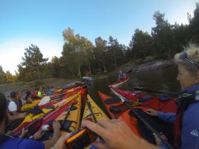 A gathering of kayakers